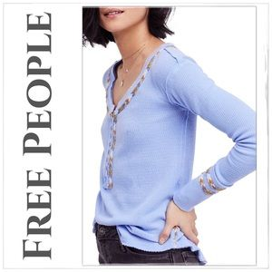 NEW Free People Light Blue Rainbow Thermal Top